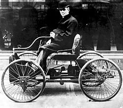 """On June 4, 1896 in a tiny workshop behind his home on 58 Bagley Street, Ford put the finishing touches on his pure ethanol-powered motor car. After more than two years of experimentation, Ford, at the age of 32, had completed his first experimental automobile. He dubbed his creation the """"Quadricycle,"""" so named because it ran on four bicycle tires."""