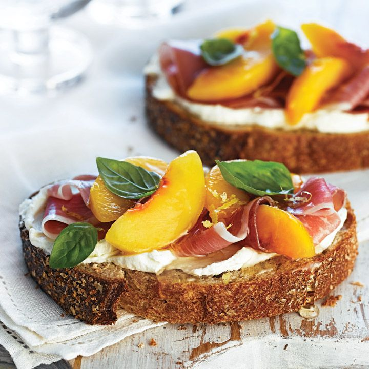 Peach, Prosciutto and Lemon-Whipped Goat Cheese Tartine on ACE Bakery Honey Whole Wheat from Ace Bakery