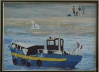 Buy paintings - ship on the shore , Landscape Paintings in Atgom Arts