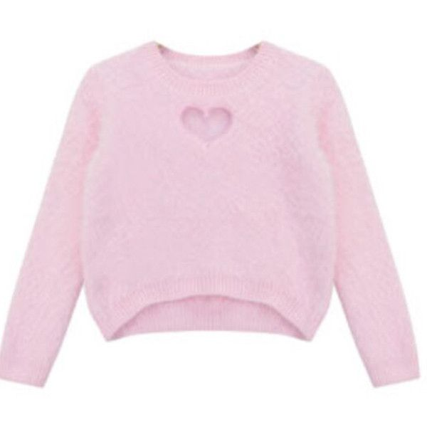 Chicnova Fashion Asymmetric Sweater in Fluffy Knit ($22) ❤ liked on Polyvore featuring tops, sweaters, shirts, crew-neck sweaters, pink shirts, cropped crew neck sweater, pink crop top and pink jumper