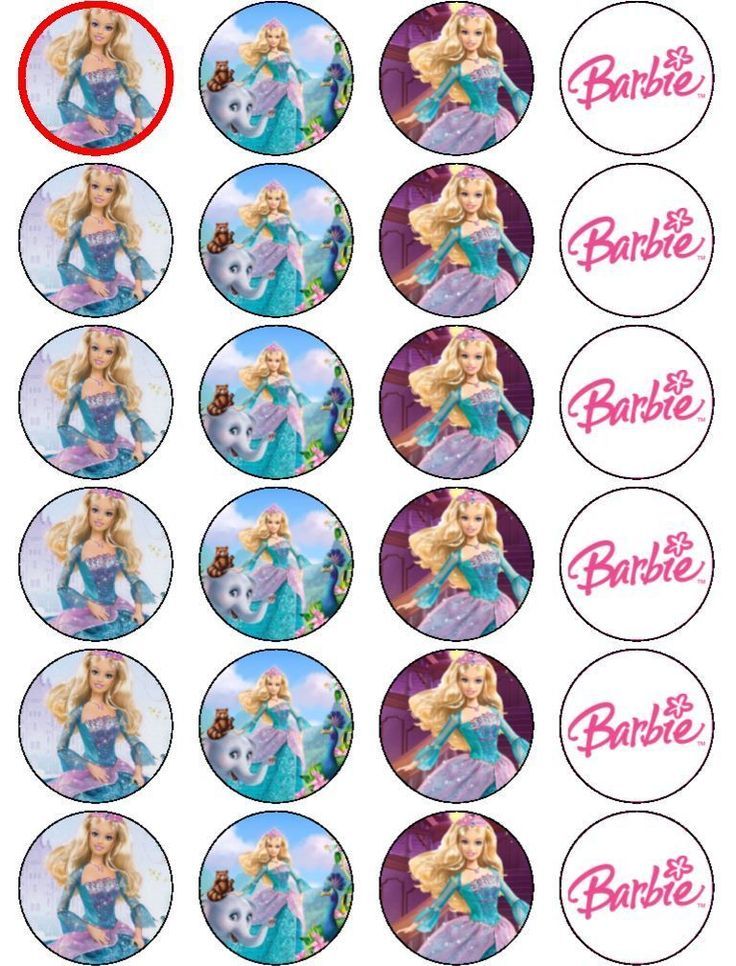 24 X BARBIE ISLAND PRINCESS EDIBLE RICE PAPER CAKE TOPPERS Paper CakeParty PrintablesParty