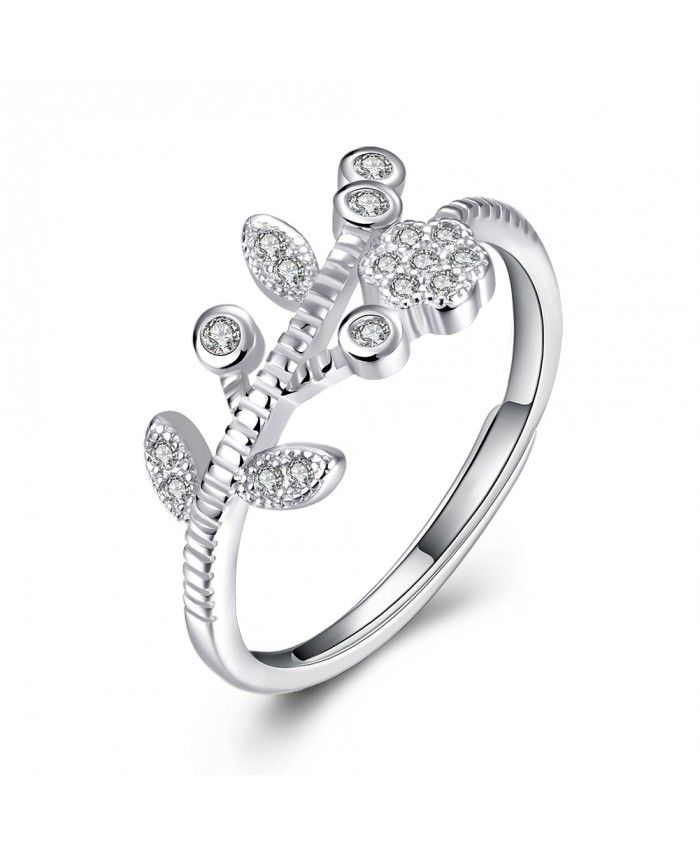 Ouruora Flower With Leaves With Clear CZ Ring Silver