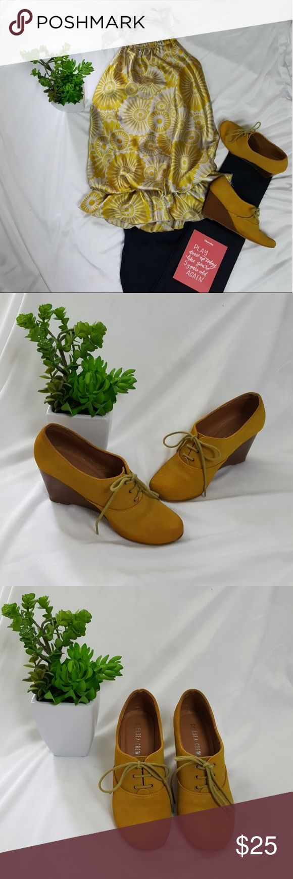 Chelsea Crew Oxford wedges Super cute mustard color wedges. These beauties are in great condition considering how much they are loved! There are some scuffs on the heels as shown in the pictures and some discoloration around the edges but barely noticeable. The wedge height is 3'. These were purchased from Modcloth. Modcloth Shoes Wedges