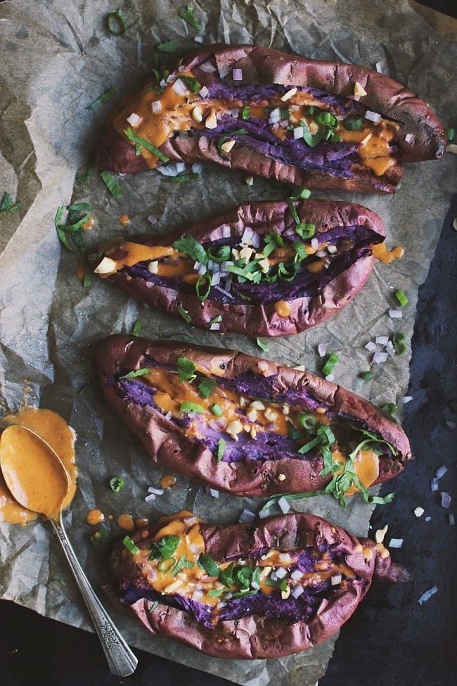 Thai Stuffed Sweet Potatoes with Red Curry Peanut Sauce | @withfoodandlove