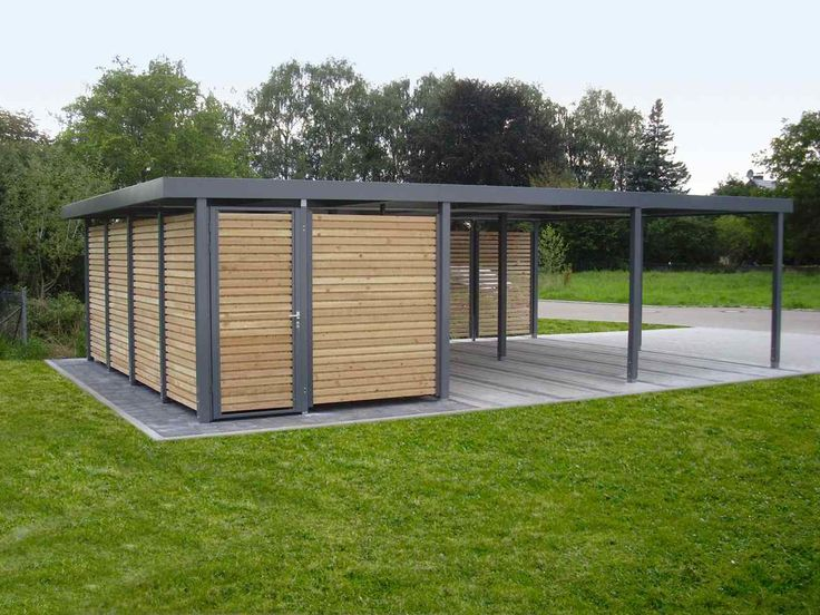 ... Pictures From Different Vary : Metal And Wooden Carport Garage That  Enough For Two Cars Or Four Bikes In The Middle Of The Green Garden With Flat  Roof