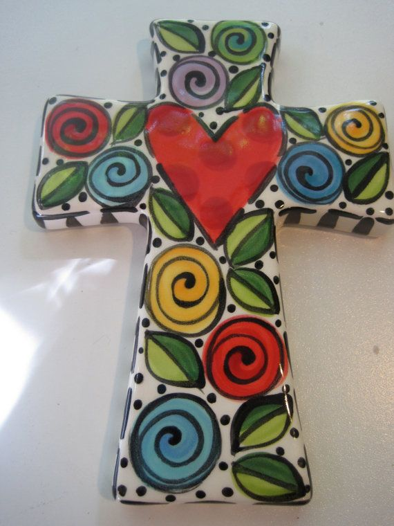 Hand+Painted+Ceramic+Cross+by+shannondesigns+on+Etsy