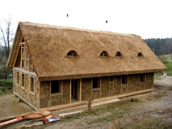 reed roof and straw bale walls...I would have to color those bales!