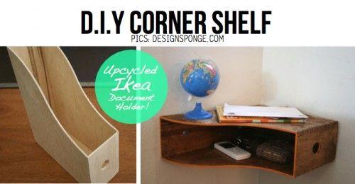 corner book shelf IKEA diy