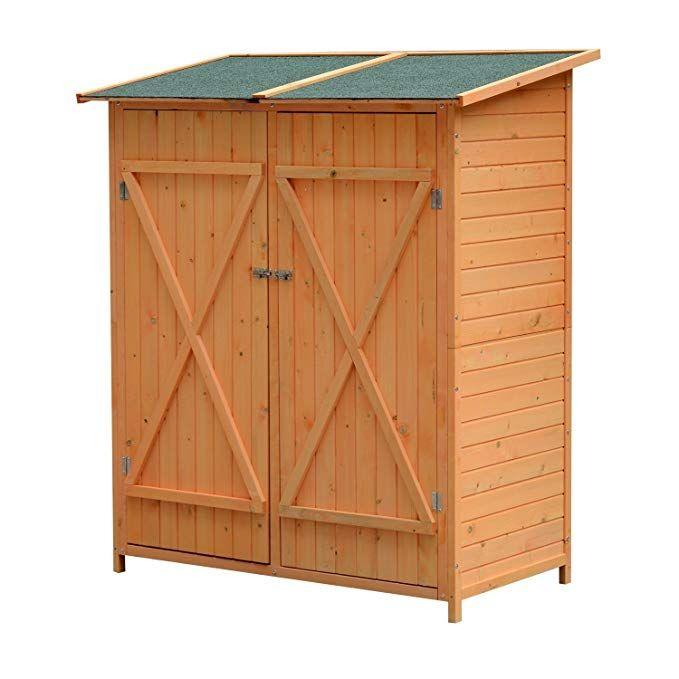 Outsunny Holz Gerätehaus Geräteschuppen Gartenschrank
