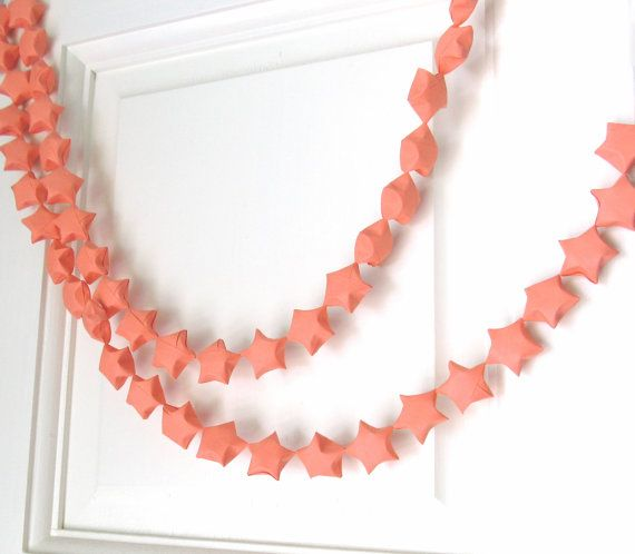 Coral colored star garland - perfect for the gymnastics party dessert table. Origami Star Garland, Coral, Party Decor, Home Decor