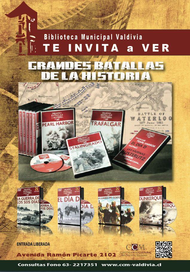 """CICLO DE CINE Biblioteca Municipal Valdivia """"GRANDES BATALLAS DE LA HISTORIA"""""""