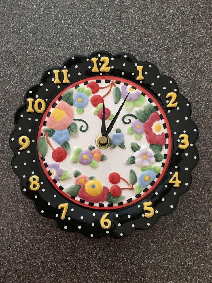 "Mary Engelbreit ""Oh So Breit"" Battery Operated Ceramic Clock Cherries Flowers in Home & Garden, Home Décor, Clocks   eBay"
