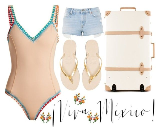 """Mexico vacation"" by dakotabydesign ❤ liked on Polyvore featuring kiini, Havaianas and Topshop"