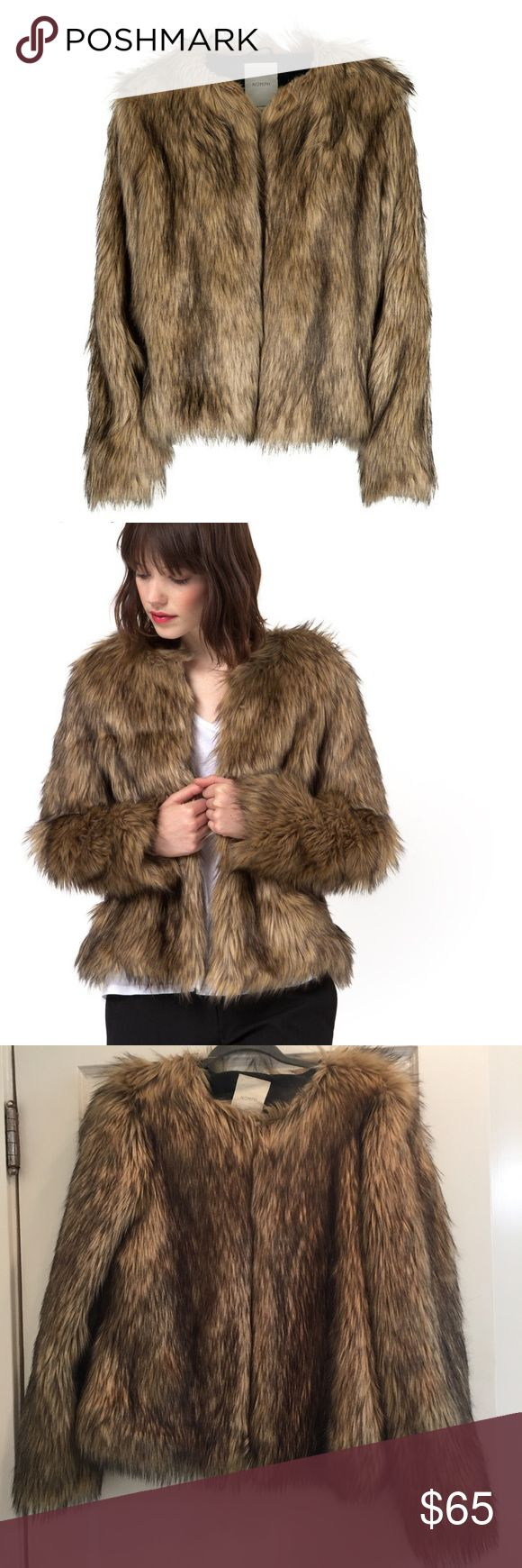 NÜMPH Fur Coat Brown faux fur coat with hook clasp Urban Outfitters Jackets & Coats