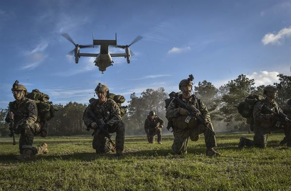 A U.S. Marine MV-22 Osprey takes off after Marine Special Operations School students infiltrate their objective during Field Training Exercise Raider Spirit, May 1, 2017, at Camp Lejeune, N.C. For the first time, U.S. Air Force Special Tactics Airmen spent three months in Marine Special Operations Command's Marine Raider training pipeline, representing efforts to build joint mindsets across special operations forces.  (U.S. Air Force photo by Senior Airman Ryan Conroy)