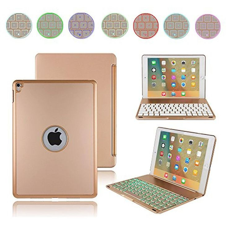 iPad Pro 9.7 Keyboard Case, Boriyuan Aluminium Backlit Folio Stand Smart Cover with 7 Colors Backlight Wireless Bluetooth Keyboard For Apple iPad Pro 9.7''+Screen Protector+Stylus, Gold - Brought to you by Avarsha.com