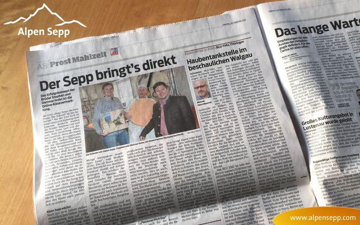 """Einfach lässig! Wir haben es heute auf die Titelseite der Vorarlberger Nachrichten geschafft. VN vom 26.02.2016. Ein kurzer Anreisser in der rechten Spalte mit """"Von der Alpe auf den Teller"""" und der ganzen Reportage ein paar Seiten weiter.  Wir haben alle Infos zum Interview gesammelt und inkl. dem Bericht in der Zeitung für dich veröffentlicht."""
