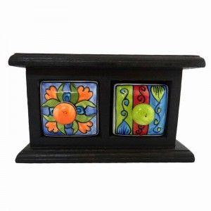 Black Spice Jar Rack Home Décor Art Wooden Jewelry Box Ceramic Cabinet 2 Drawer