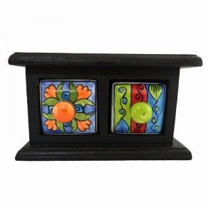Black Spice Jar Rack Home Décor Art Wooden Jewelry Box Ceramic Cabinet 2 Drawer
