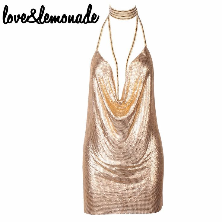Sexy Halter Metal Party Dress Gold