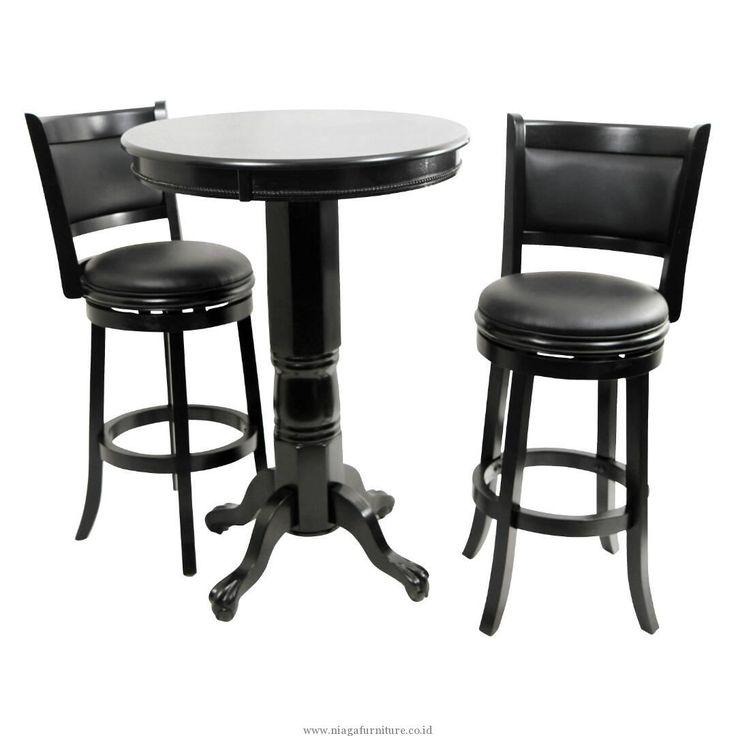Meja Kursi Bar Jok Bundar Hitam -Kursi ini cocok untuk anda yang mempunyai usaha bar, cafe atau bistro anda, dengan konsep dudukan jok yang bisa