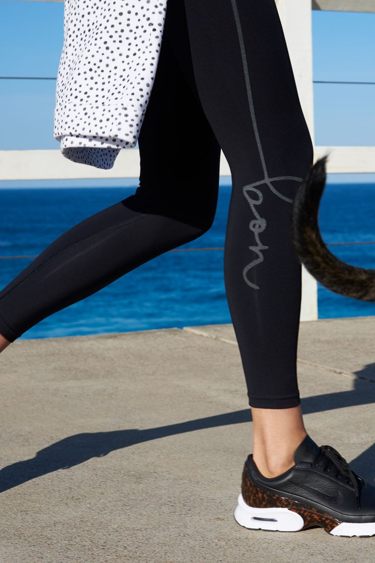 bon Leggins 7/8ths + the Spot Ragalan by bon label | Active 17 | sweater, organic cotton, sweatshirt, leggings, tights, sporty chic, dog walk, monochrome. Activewear. Ethically made in Australia. #goodforwomankind | SHOP bonlabel.com.au