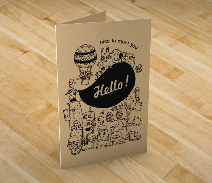 Hello! greeting card (G05) by booodle on Etsy