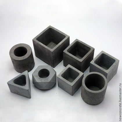 Купить или заказать Бетонные горшки( 8 шт) в интернет-магазине на Ярмарке Мастеров. Комплект горшков 8 предметов, 4 куба(12х12см, 10х10см, 9х9см, 8х8см.) 2 тубы (10х10 см.) 1 треугольник, 1 призма. Специальный бетон. Снизу на горшках приклеены фетровые ножки.Бетон обработан специальной пропиткой. При покупке нескольких изделий GoodBeton, делаю скидку). Есть опт. 20% ваших денег от покупки, будет перечислено в благотворительный фонд…