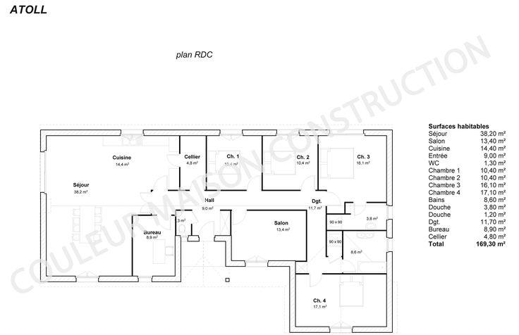 plan maison plain pied gratuit pdf plans pinterest plain pied plan maison plain pied et plans maison - Plan Maison Plain Pied 150m2 Gratuit