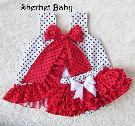 Black Whie Red Ruffled Pinafore Dress and Sassy Pants Diaper Cover Bloomers on Etsy, $77.33 AUD
