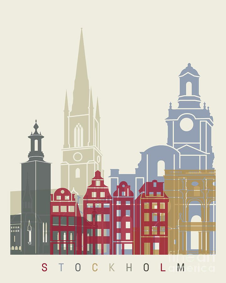 Stockholm Painting - Stockholm Skyline Poster by Pablo Romero