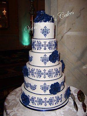 Cobalt Blue Damask Wedding Cake