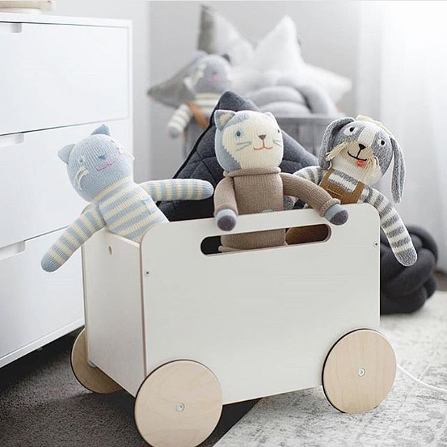 "Why can't kids keep toys in the toy room?? ""TOY ROOM""!!!! I've come up with a genius idea that is so far working a treat! They lug the toy cart around and pick up all their toys with it that are scattered all over the house. Their cart has now become somewhat of a bus and the toys are apparently at the bus stops 🙌🏼👌🏼 Their toy room is now the depo! Haha suckers... We still have a few of these available now for pre order at the link in our bio. Expected delivery is for the start of April…"