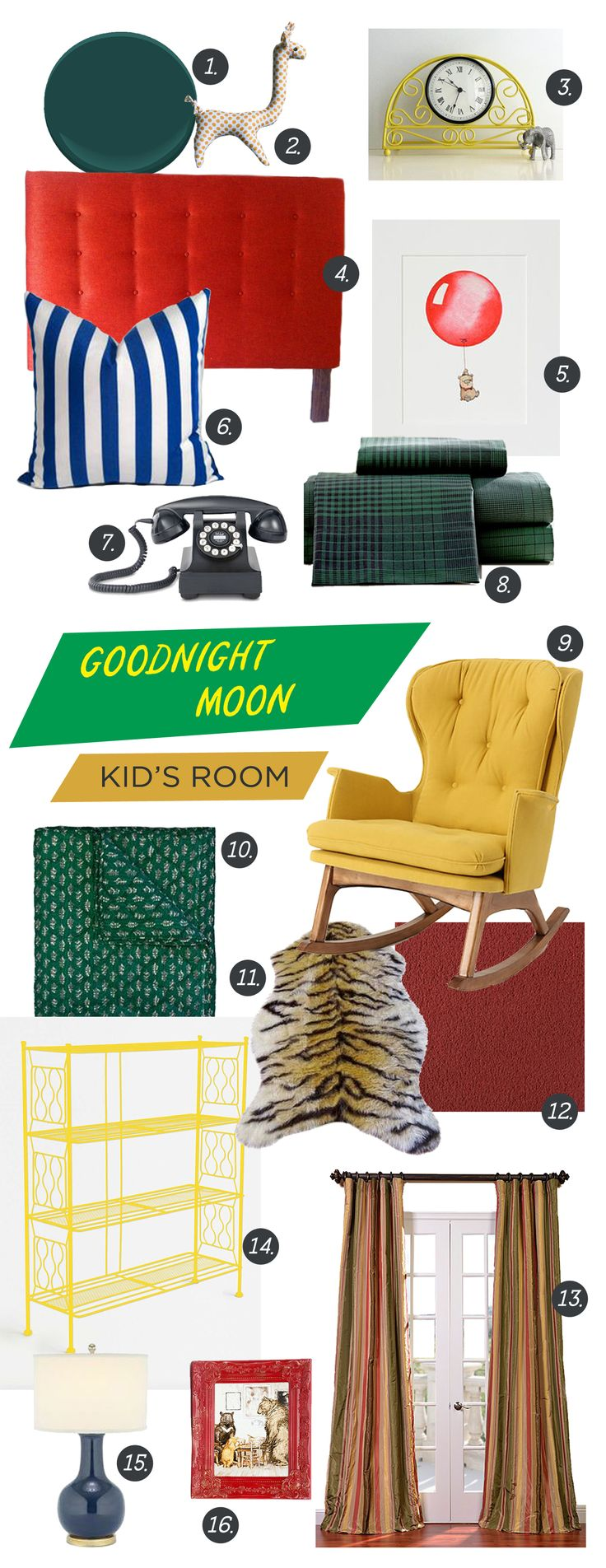Goodnight Moon inspired Kids Room or Nursery Decor moodboard. Featuring objects inspired from the book: a red upholstered headboard, dark teal green walls, yellow rocker, blue and white stripes, giraffe, plaid sheets, animal rug, a mantel clock, a vintage telephone, red carpet, and three bears.