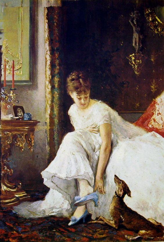 """Vito d'Ancona: """"Signora in bianco""""(Lady in white), 1884, oil on canvas, current locatio: Galleria d'Arte Moderna di Milano."""