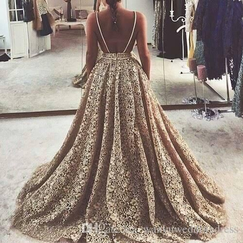 Gold Lace Prom Party Dresses Long Ballgown Backless Spaghetti 2016 Style Formal Evening Gowns Plus Size Special Occasion Dressess For Women Elegant Gowns Fitted Prom Dresses From Wanyuweddingdress, $128.8| Dhgate.Com