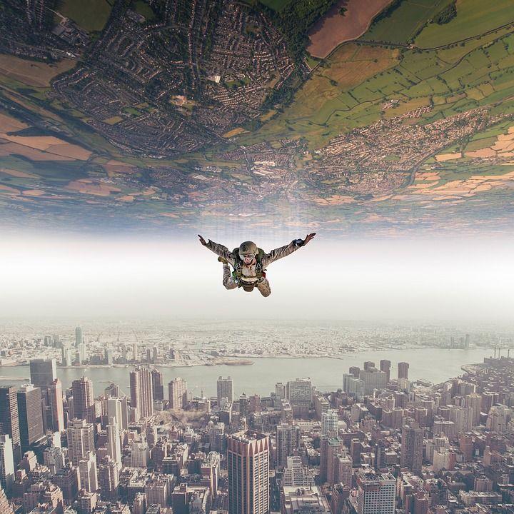 Paracaidista, Caída, Cielo, Paisaje, La Naturaleza