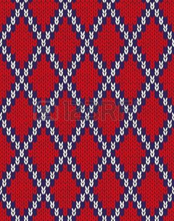 Knit de l sem costura jacquard textura ornamento Tecido azul branco vermelho cor de fundo rendilhado Imagens