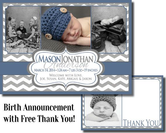 Birth Announcement  Digital File  with free thank by MouwDesigns