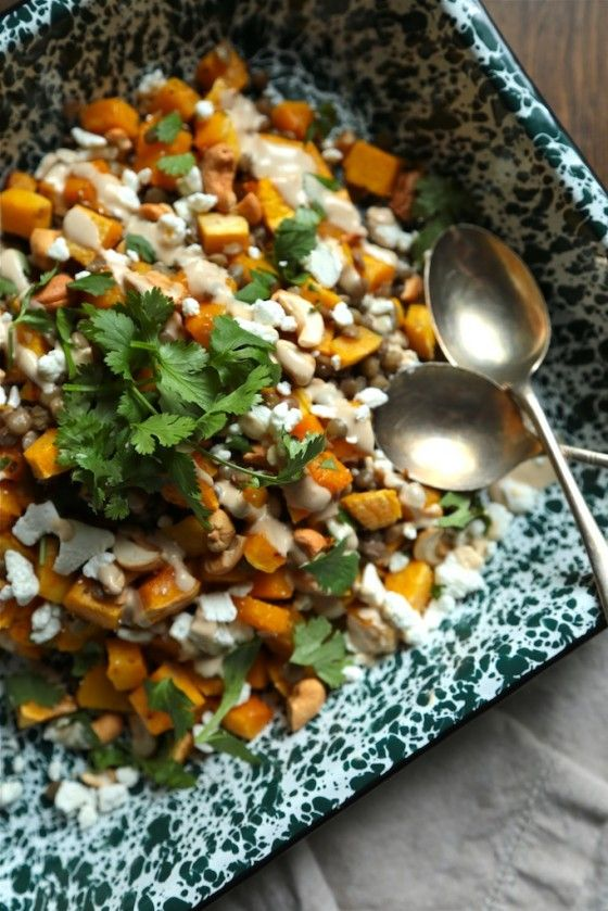 Butternut Squash and Lentil Salad with Peanut Sauce Dressing