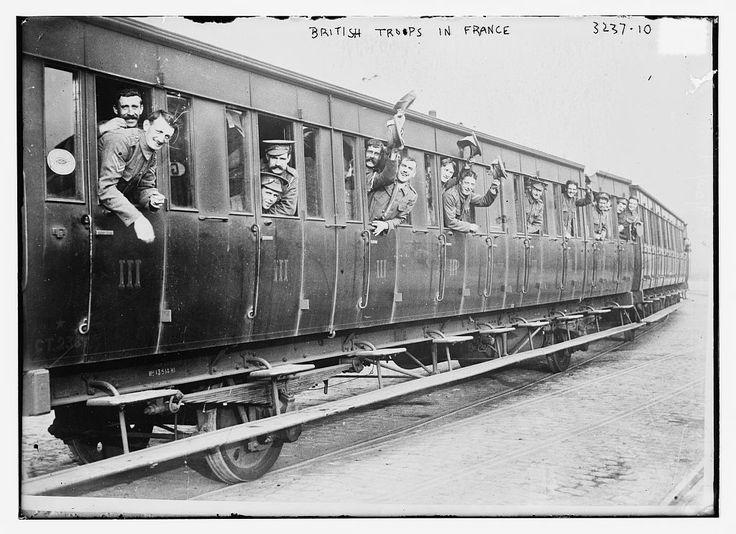 British Troops in Railway Car, France