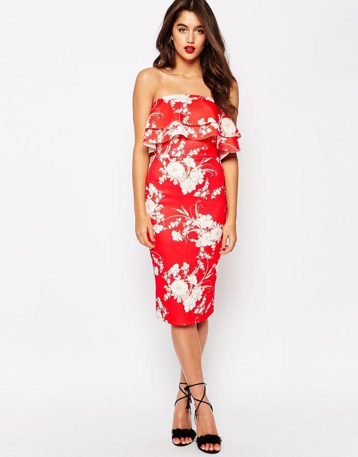 Immagine 4 di ASOS - Vestito midi in tessuto scuba rosso a fiori con doppio volant