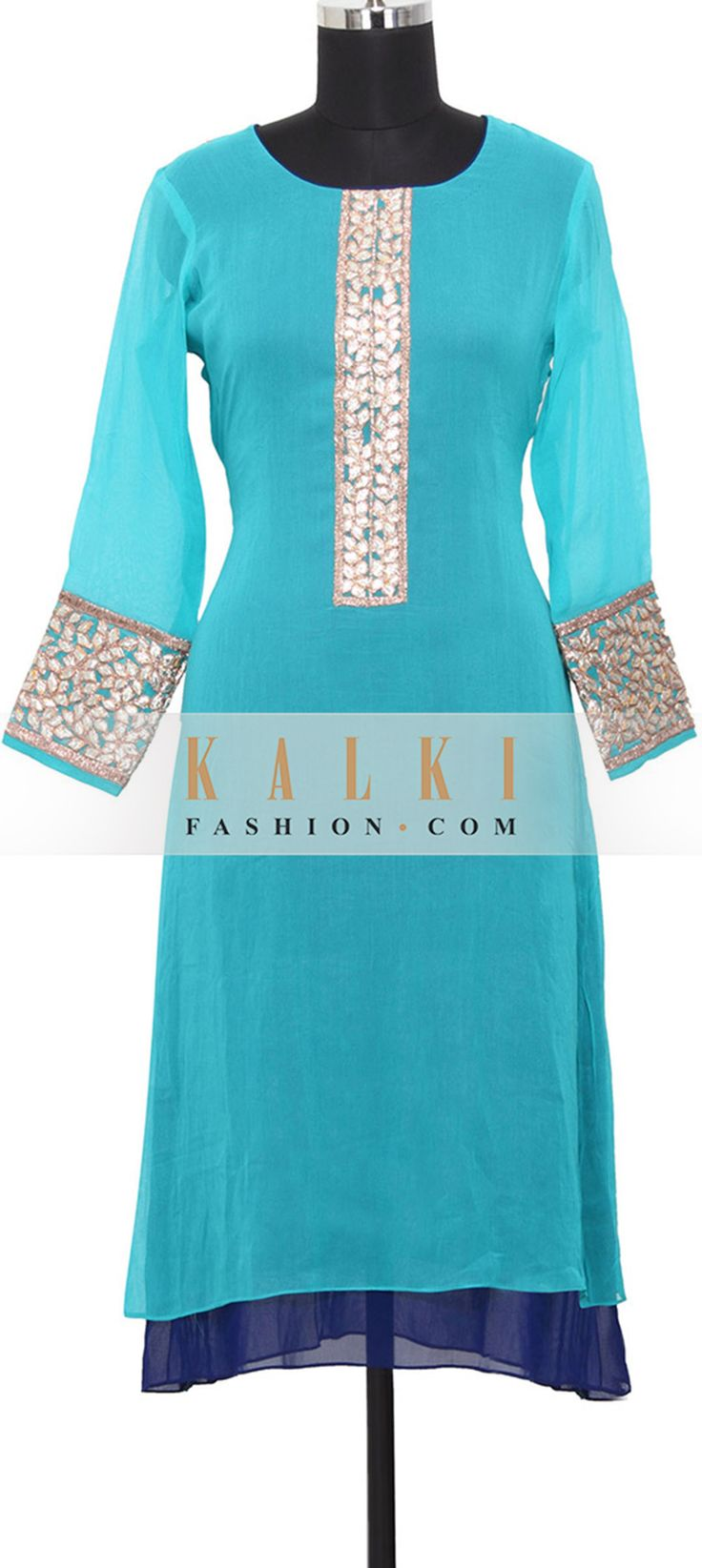 Buy Online from the link below. We ship worldwide (Free Shipping over US$100)  http://www.kalkifashion.com/turquoise-georgette-kurti-in-applique-only-on-kalki.html