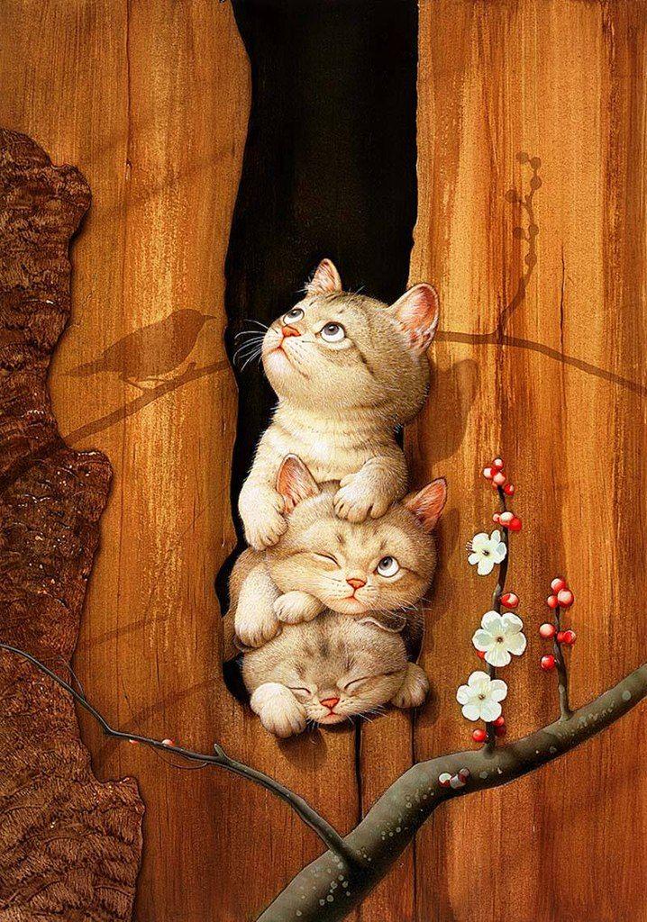 Рисованные картинки кошек прикольные