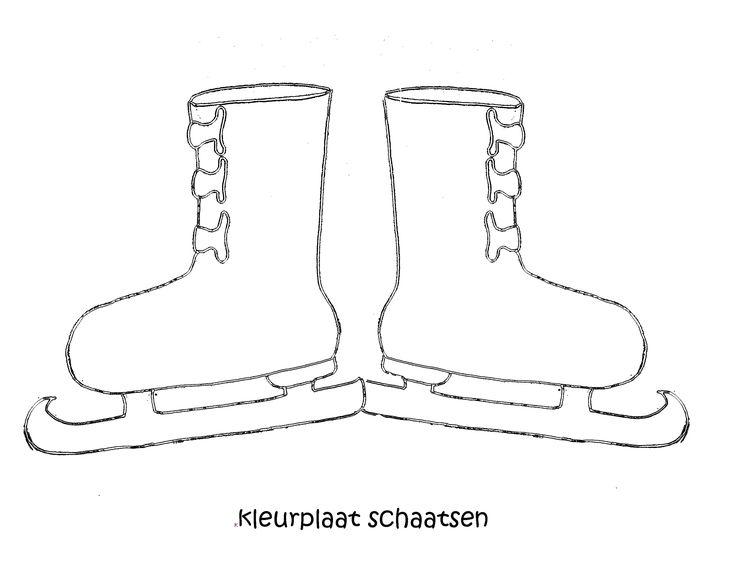 kleurplaat schaatsen. www.dewereldvanwiepje.nl