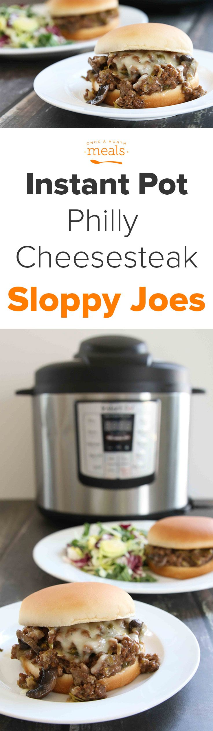 Tired of the same old sloppy joe's? Try our Instant Pot pressure cooker Philly Cheesesteak version! It's a freezer meal recipe mash-up of deliciousness. via @onceamonthmeals