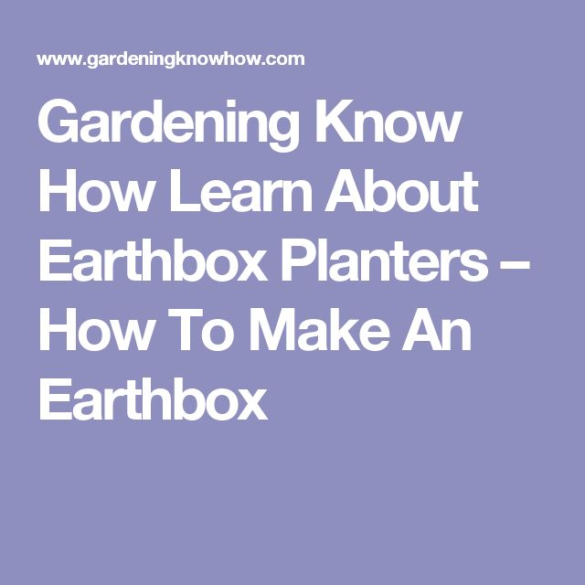 Gardening Know How Learn About Earthbox Planters – How To Make An Earthbox