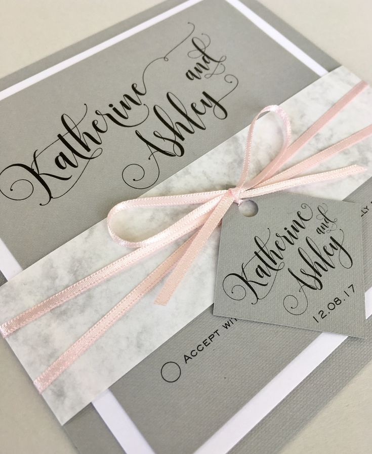 wedding invitation tied with ribbon%0A Grey wedding invitation set with marble belly band and pale pink ribbon   Beautiful wedding stationery lovingly made and designed in the UK