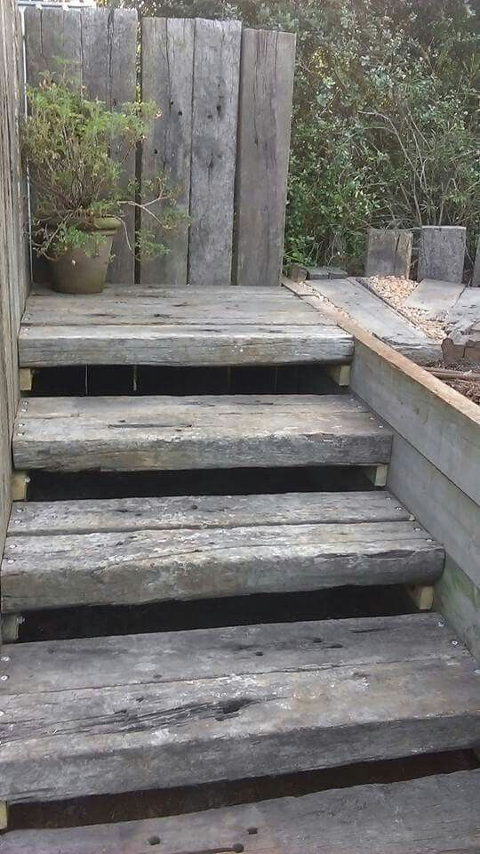 I had the tread made double width and used upright sleepers as a feature and a handrail.