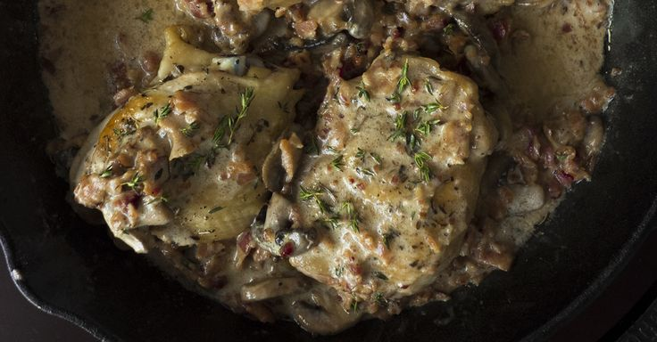 Chicken Thighs With Bacon Mushroom Thyme Sauce